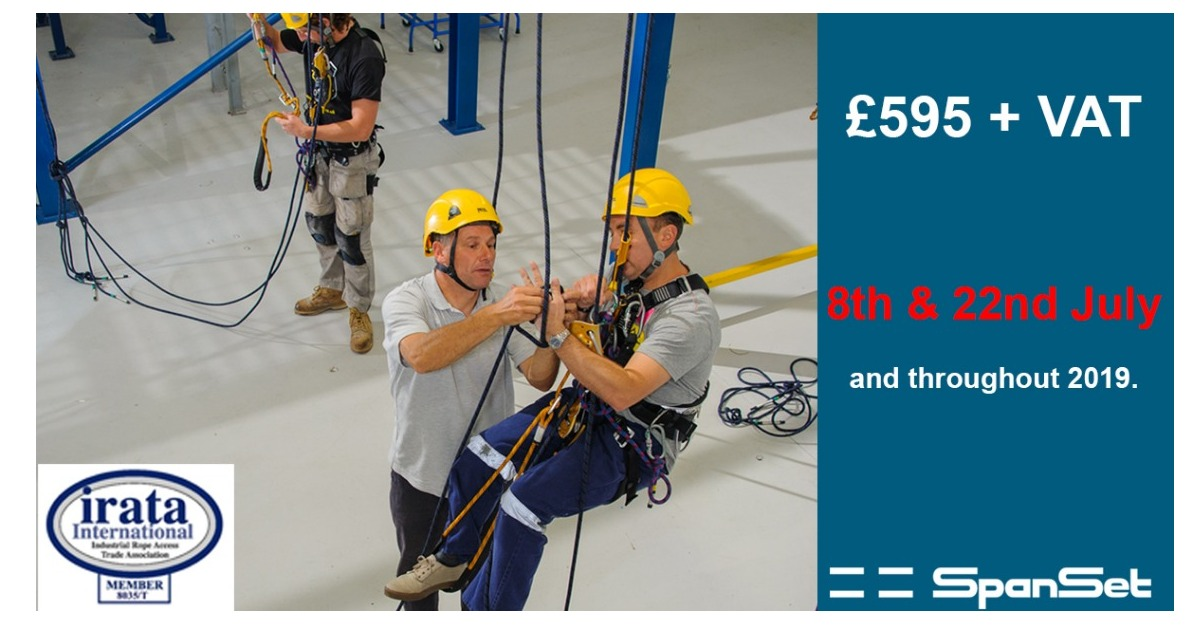 Availability on 8th July IRATA Rope Access Training course at SpanSet. Based 5 mins off M6, Middlewich, Cheshire.
