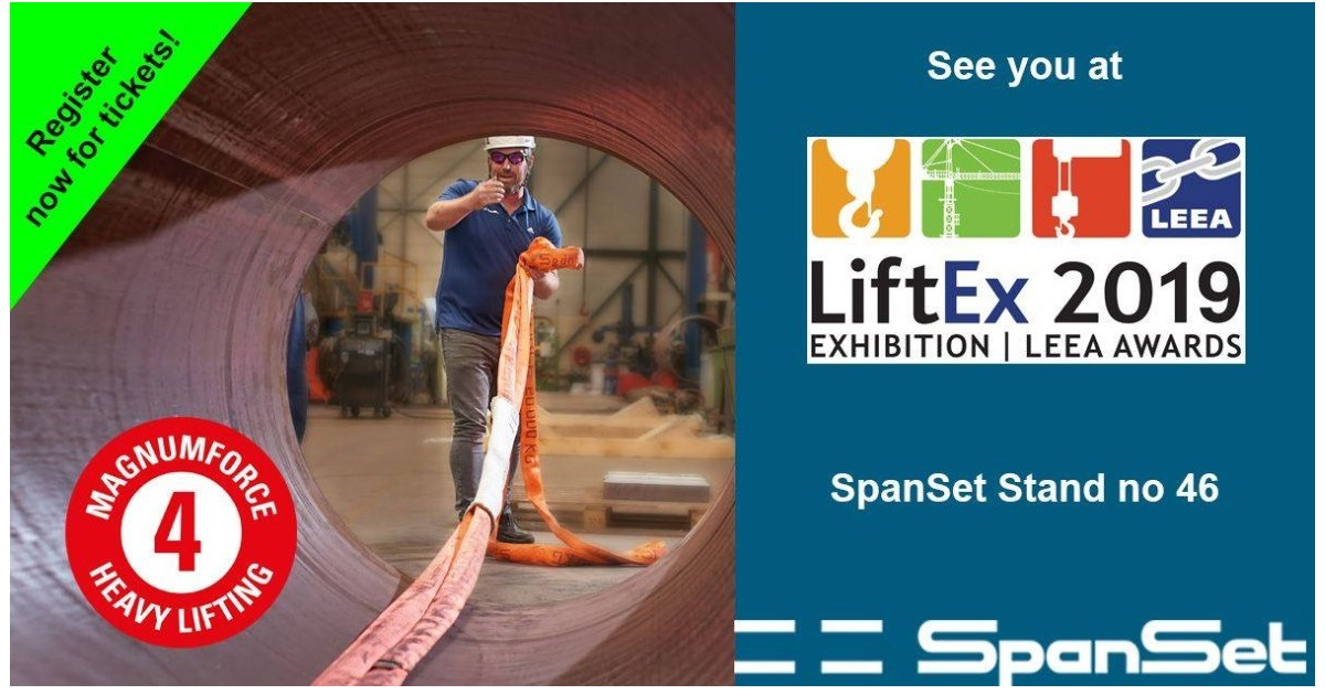 Come and visit SpanSet at LiftEx 2019! 'SpanSet - for Lifting Solutions'