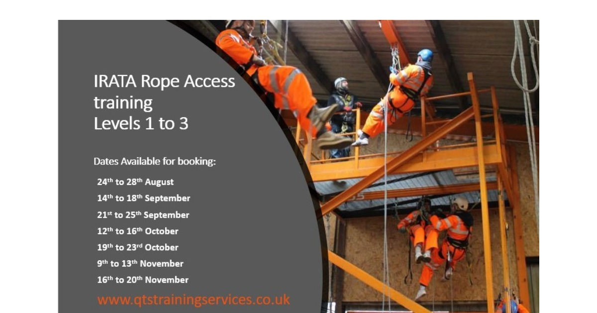 New course dates released for IRATA Rope Access training