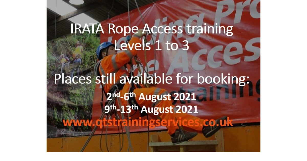 August IRATA Rope Access course availability