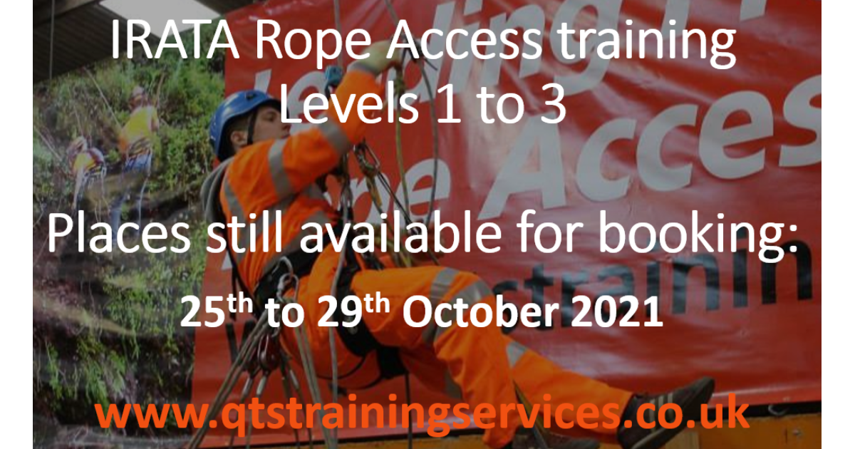 Places available on IRATA Rope Access course starting 25 October