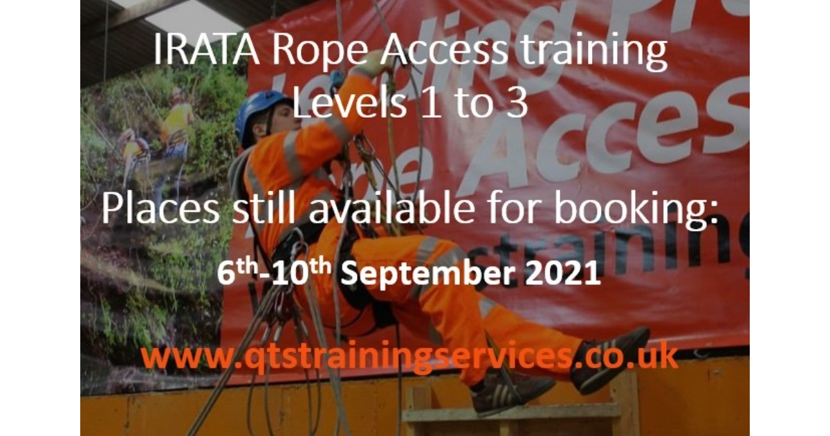 Last minute place available on IRATA Rope Access course starting 6th September