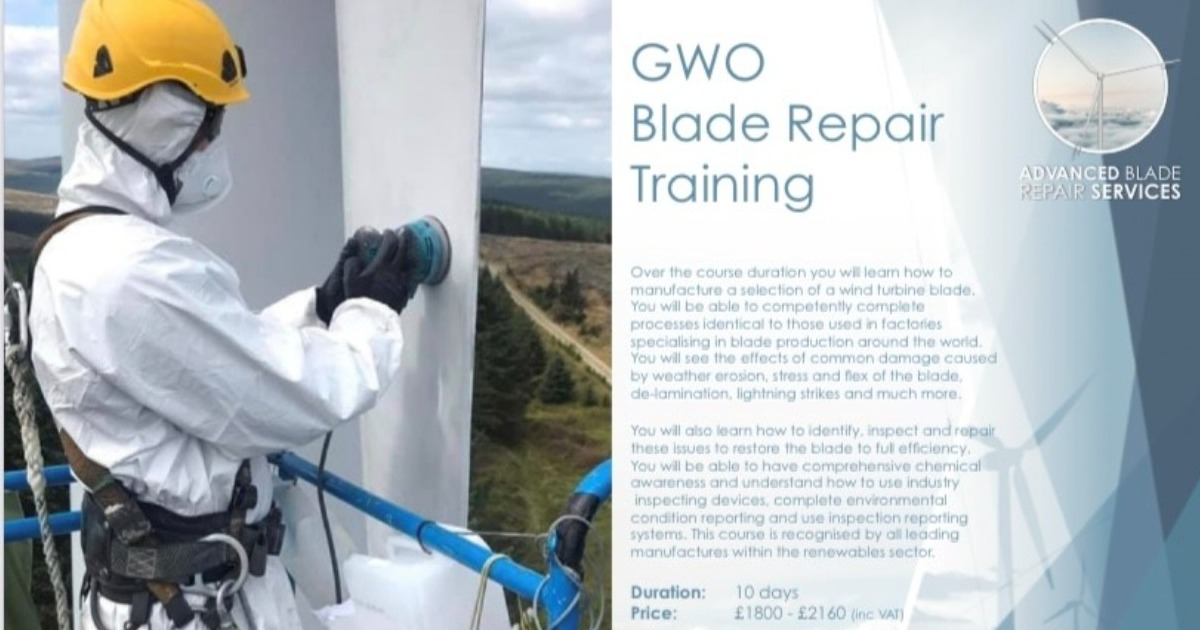 Spaces Available for GWO Blade Repair