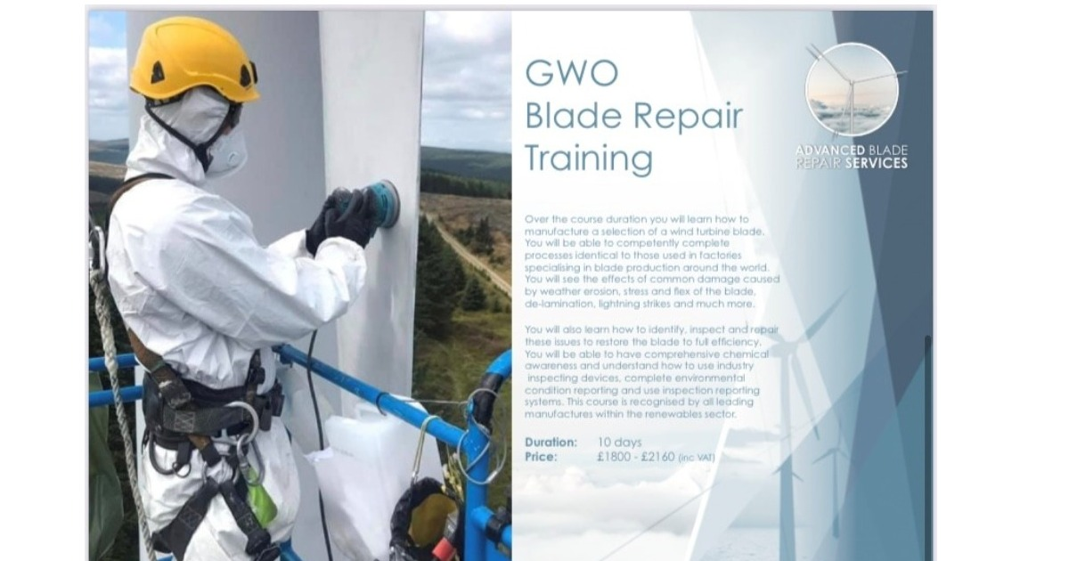 We have spaces available on GWO Blade Repair course next week (18.10.2021) at our training centre in Sunderland !!