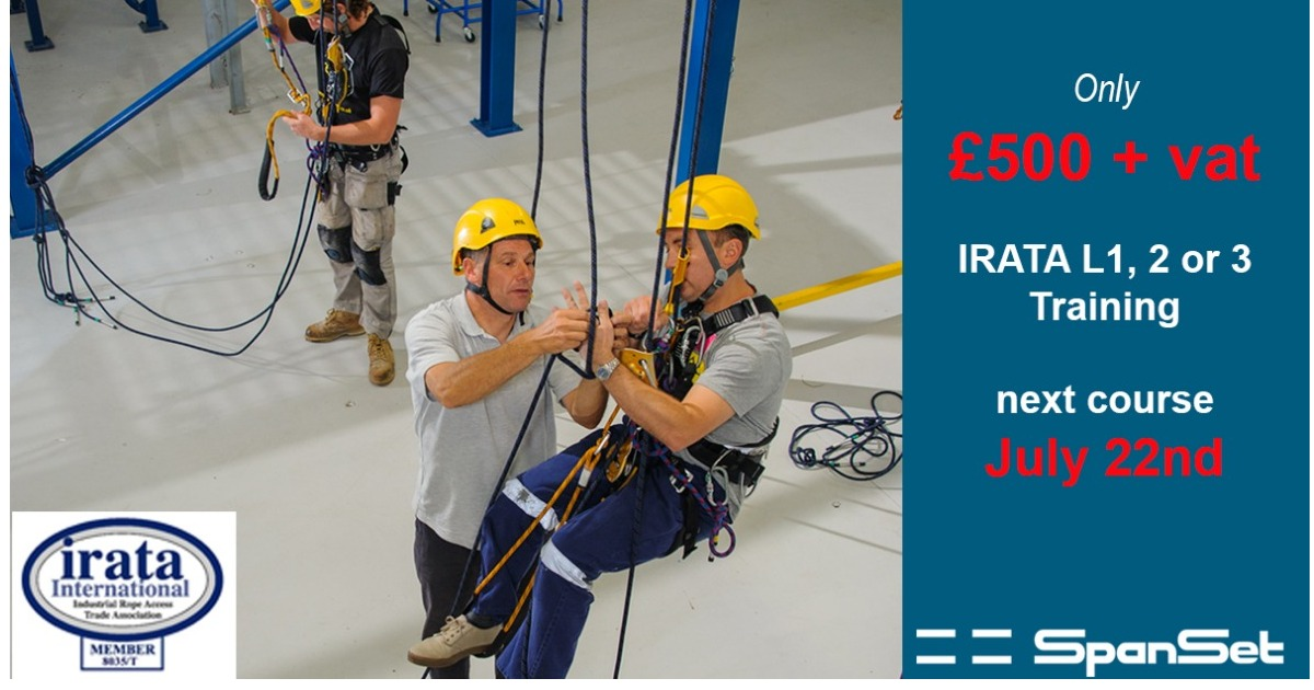 Next week! IRATA Rope Access Training Course £500 + VAT. 5 mins off M6, Middlewich, Cheshire.